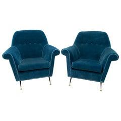 Pair of Gigi Radice Mid-Century Modern Italian Armchairs for Minotti, 1950s
