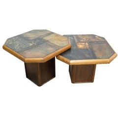 Pair of Gigogne Coffee Table Wood and Slate Stone Top, French, circa 1980