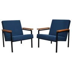 Pair of Gijs van der Sluis Chairs in New Upholstery, Netherlands, circa 1960