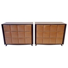 Pair of Gilbert Rohde for Herman Miller Padded Front American Art Deco Chests
