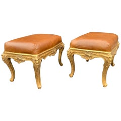 Pair of Gild Hand Carved Benches