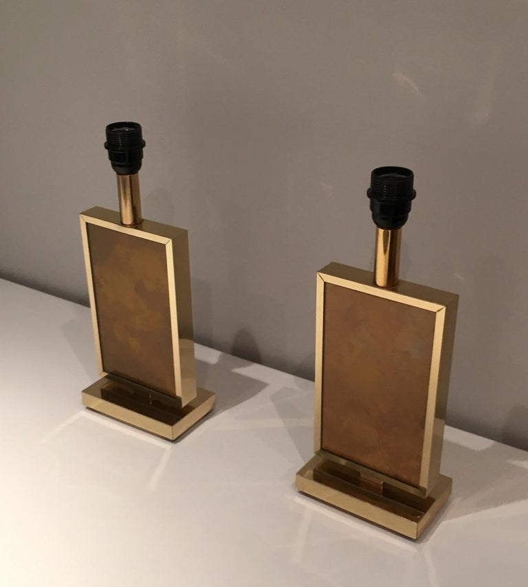 Pair of Gild Lamps, in the Style of Aldo Tura, circa 1970 For Sale 2