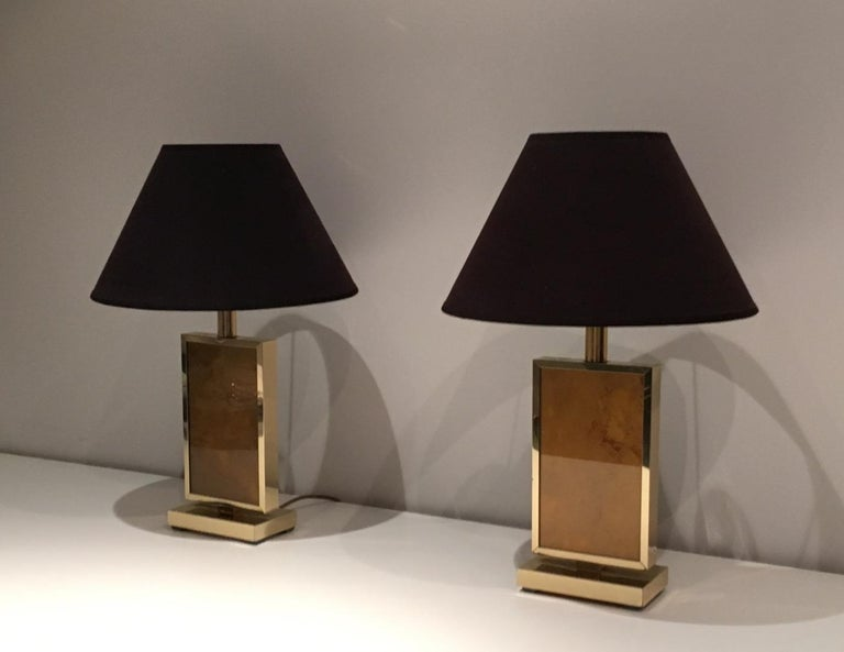 Pair of Gild Lamps, in the Style of Aldo Tura, circa 1970 For Sale 6