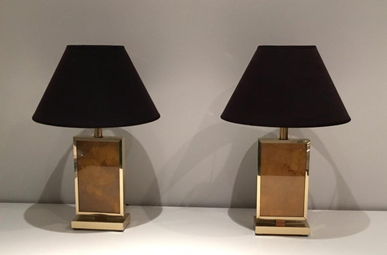 Mid-Century Modern Pair of Gild Lamps, in the Style of Aldo Tura, circa 1970 For Sale