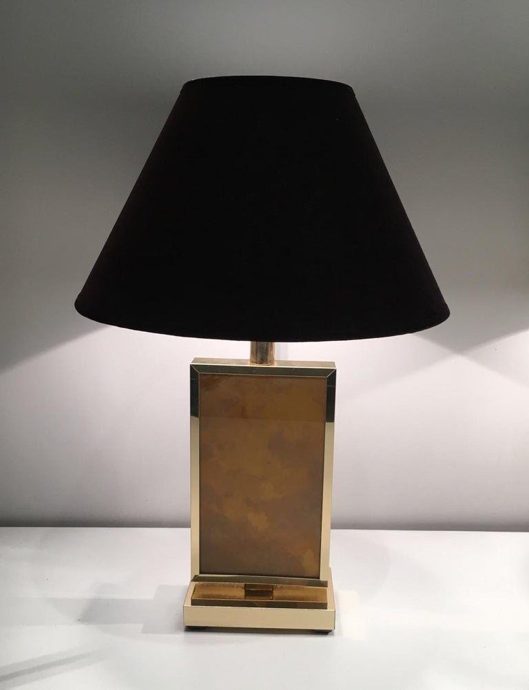 French Pair of Gild Lamps, in the Style of Aldo Tura, circa 1970 For Sale