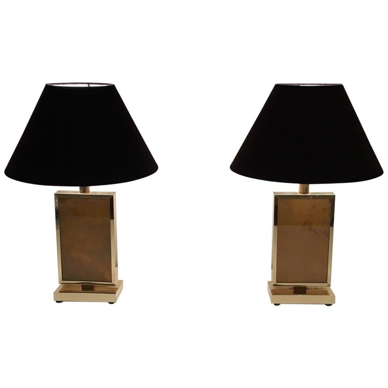Pair of Gild Lamps, in the Style of Aldo Tura, circa 1970 For Sale