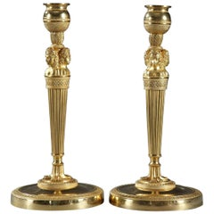 Pair of Gilded and Sculpted Bronze Candlesticks, Empire Period