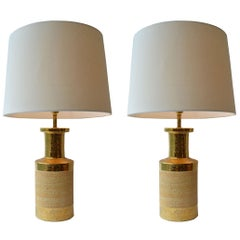 Pair of Gilded and Stoneware Ceramic Table Lamps by Bitossi, Italy