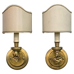 Pair of Gilded Brass Single Arm Wall Sconces Cherub Design