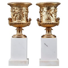 Pair of Gilded Bronze Medici Vases with Antique Decoration