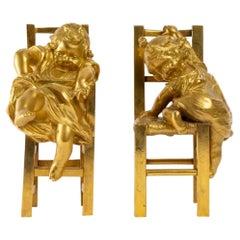Pair of Gilded Bronze Sculptures 19th Century