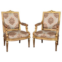 Pair of Gilded Carved French Louis XVI Directoire Armchairs Bergere Chairs