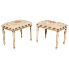 Pair of Gilded Carved French Louis XVI Needlepoint Stools Benches, circa 1950s
