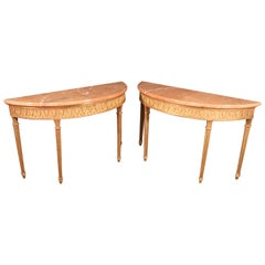 Pair of Gilded Carved Marble-Top Demilune Louis XVI Console Tables, circa 1950s
