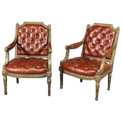 Pair of Gilded Carved Tobacco Brown Leather Tufted Fauteuil Armchairs circa 1920