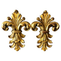 Pair of Gilded Carved Wood Wall Mount Fleur De Lis