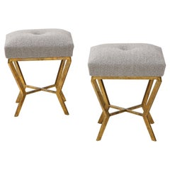 Pair of Gilded Gold Leaf Iron Stools with Tufted Grey Boucle, Italy, 2021