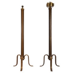 Pair of Gilded Hammered Hollow Steel Floor Lamps, 1960s
