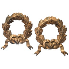 Pair of Gilded Iron Wreaths