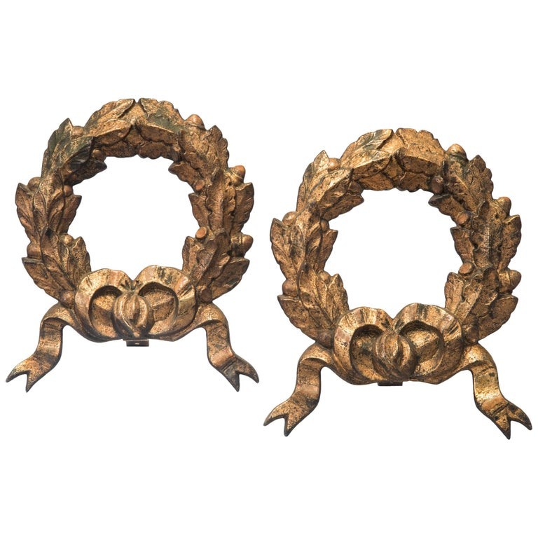 Pair of Gilded Iron Wreaths For Sale