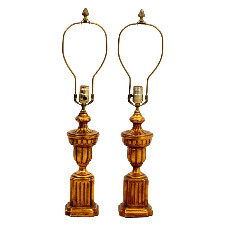 Pair of Gilded Italian Lamps For Sale