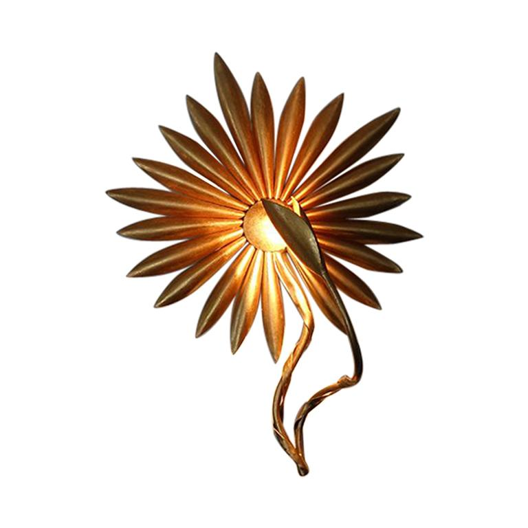 Pair of Gilded Metal Flowers Wall Lights For Sale