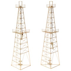 Pair of Gilded Metal Oil Rig Tower Sculptures or Wall Sculptures Vintage