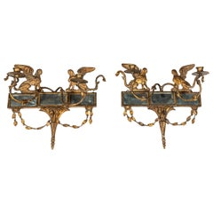 Pair of Gilded, Mirrored, Period Sconces