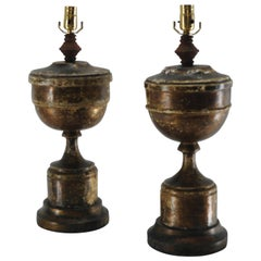 Pair of Gilded Pedestal Lamps, 19th Century