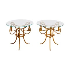 Pair of Gilded Rope and Tassel Side Tables
