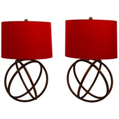 Pair of Gilded Sphere Shaped Table Lamps