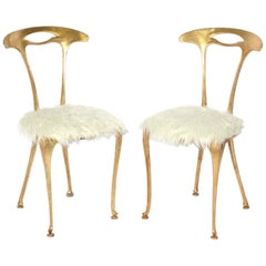 Pair of Gilt and Faux Lamb Chairs by Palladio