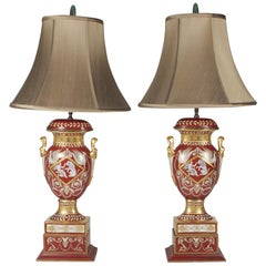 Pair of Gilt and Painted Porcelain Table Lamps