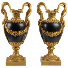 Pair of Gilt and Patinated Bronze Cassolettes