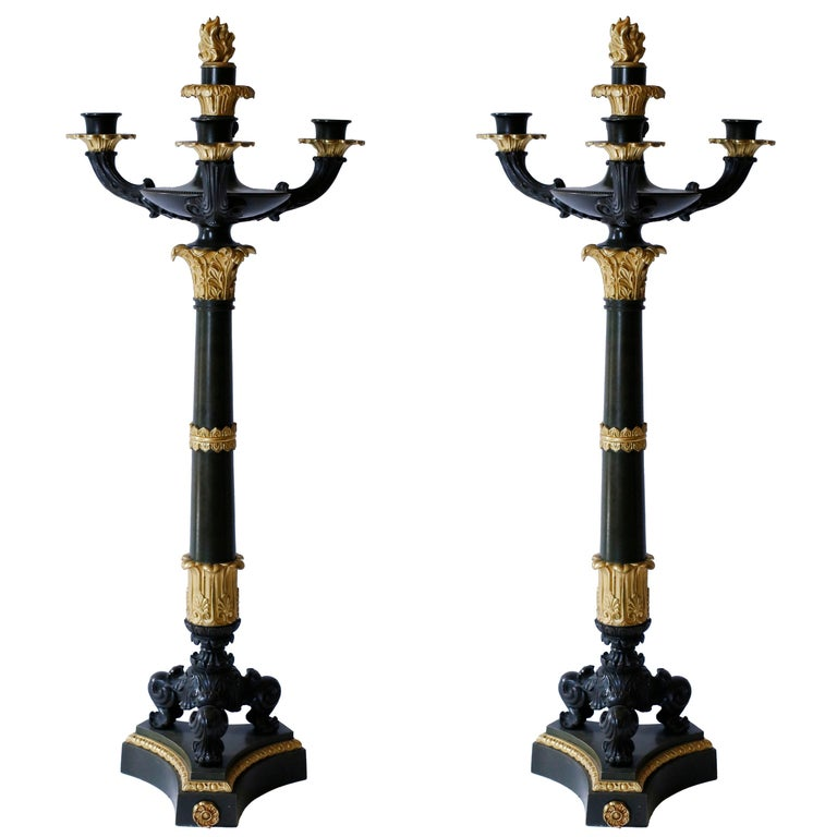 Pair of Gilt and Patinated Bronze Charles X Candelabra For Sale