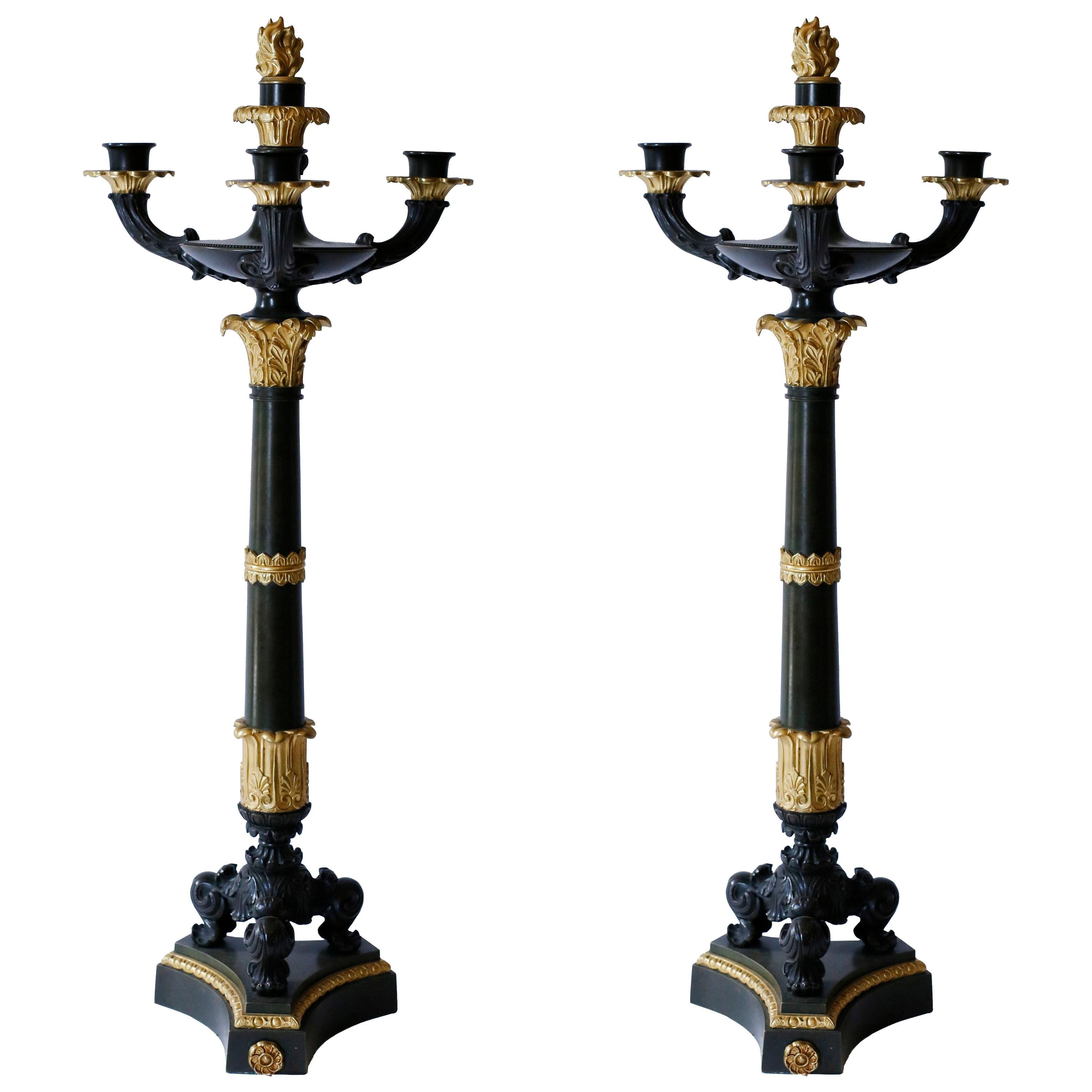 Pair of Gilt and Patinated Bronze Charles X Candelabra