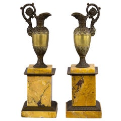 Pair of Gilt and Patinated Bronze Ewers on Marble Plinths, circa 1840