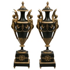 Pair of Gilt and Patinated Figural Bronze Covered Vases, French, circa 1830
