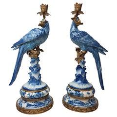 Pair of Gilt Art Nouveau Style Brass Porcelain Parrot Standing Candlesticks