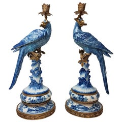 Pair of Gilt Art Nouveau Style Brass Porcelain Parrot Standing Candlesticks