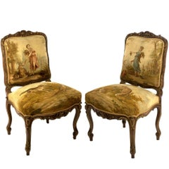 Pair of Parcel-gilt Aubusson Tapestry Walnut Side Chairs
