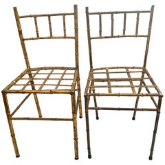 Pair of Gilt Bamboo Style Diminutive Children's Chairs