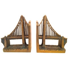 Pair of Gilt Bookends with Golden Gate Bridge Design
