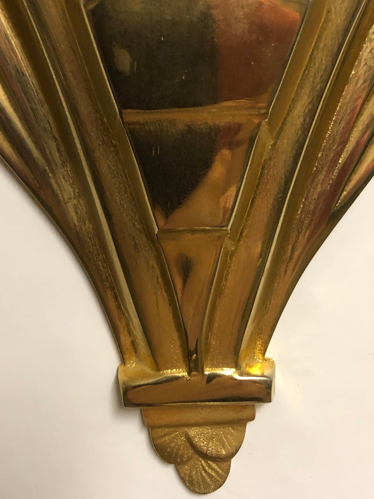 Pair of Gilt Brass and Glass Wall Sconces, Art Deco Style, France, circa 1970s For Sale 7