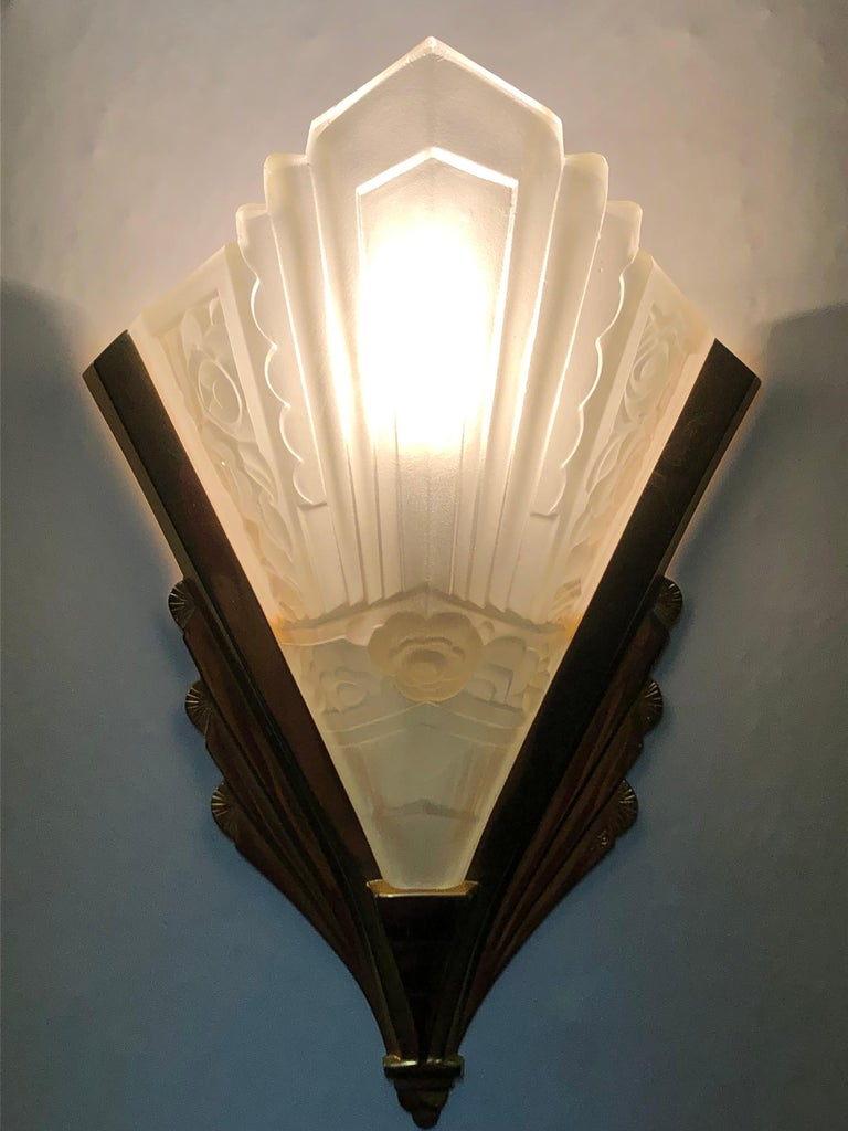 Late 20th Century Pair of Gilt Brass and Glass Wall Sconces, Art Deco Style, France, circa 1970s For Sale