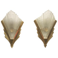 Pair of Gilt Brass and Glass Wall Sconces, Art Deco Style, France, circa 1970s