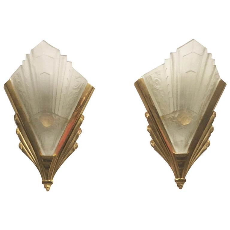Pair of Gilt Brass and Glass Wall Sconces, Art Deco Style, France, circa 1970s For Sale