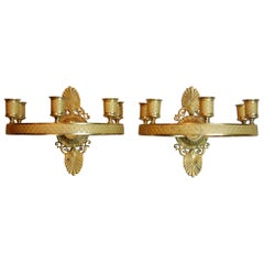 Pair of Gilt Brass Charles X Period French Empire Style Ring Form Sconces