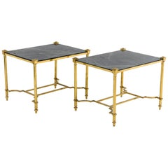 Pair of Gilt Brass End Tables with Green Marble, 1970s