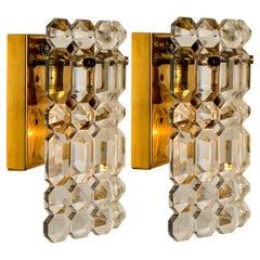 Pair of Gilt Brass Metal Crystal Glass Sconces Wall Lights Kinkeldey, 1970s